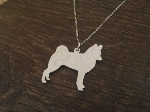 Alaskan Klee Kai pendant necklace sterling silver handmade by saw piercing Caroline Howlett Design